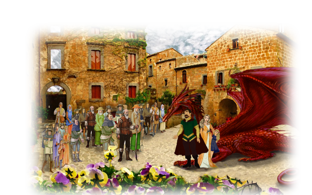 Village and King with the jelous dragon